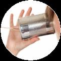 Dosentelefon-Quadrat-kreisklein